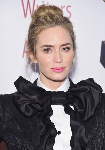 Emily Blunt Loose Bun [hair,hairstyle,eyebrow,lip,blond,cheek,forehead,long hair,hair coloring,outerwear,ceremony - arrivals,emily blunt,writers guild awards,new york,edison ballroom,ceremony]
