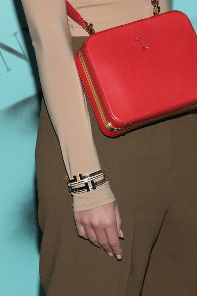 Emily Ratajkowski Bangle Bracelet [red,pink,leather,joint,fashion,beige,bag,fashion accessory,material property,leg,emily ratajkowski,new york city,tiffany co,love photography exhibition]