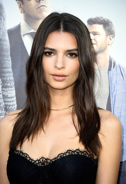 Emily Ratajkowski Gold Choker Necklace [hair,face,hairstyle,eyebrow,long hair,beauty,lip,black hair,brown hair,chin,emily ratajkowski,entourage,arrivals,actress,california,regency village theatre,warner bros. pictures,westwood,premiere,premiere]