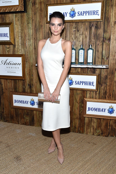 Emily Ratajkowski Metallic Clutch [shoulder,flooring,fashion,girl,dress,leg,cocktail dress,shoe,russell,danny simmons @ art basel miami beach,emily ratajkowski,soho beach house,miami,florida,bombay sapphire artisan,series finale,bombay sapphire artisan series finale,tent]