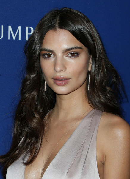 Emily Ratajkowski Dangling Diamond Earrings [hair,face,eyebrow,hairstyle,chin,beauty,lip,shoulder,black hair,long hair,emily ratajkowski,costume designers guild awards,red carpet,beverly hills,california,the beverly hilton hotel,lacoste]