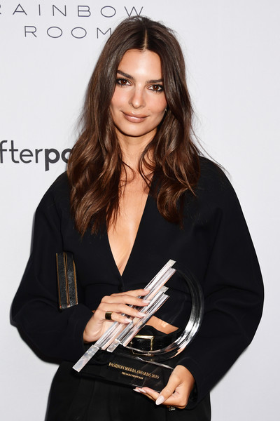 Emily Ratajkowski Wide Band Ring [lip,long hair,brown hair,layered hair,little black dress,award,white-collar worker,black hair,emily ratajkowski,daily front row 7th annual fashion media awards,new york city,the daily front row]
