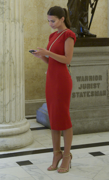 Emily Ratajkowski Midi Dress [2016 arts day on the hill,clothing,dress,red,shoulder,lady,standing,beauty,leg,cocktail dress,blond,leaders,emily ratajkowski,efficacy,the creative coalition??s arts team,arts,u.s. capitol,washington dc,creative coalition]