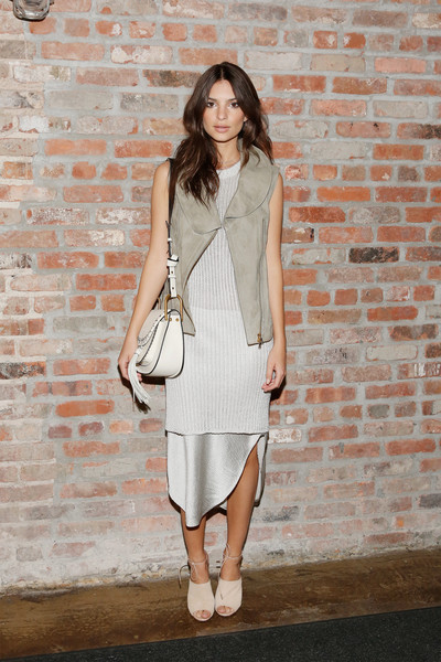 Emily Ratajkowski Mini Dress [emily ratajkowski,clothing,white,dress,shoulder,fashion,street fashion,fashion model,pink,outerwear,footwear,maiyet - backstage,new york city,cedar lake,new york fashion week,fashion show]