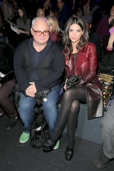 Emily Ratajkowski Platform Sandals [shows,fashion,thigh,event,leg,textile,sitting,tights,human leg,fashion design,leather,anna sui,emily ratajkowski,editorial director,mickey boardman,front row,papermag,l,the shows,new york fashion week]