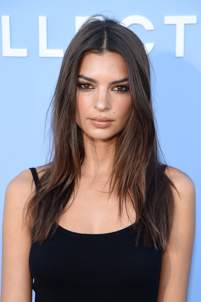 Emily Ratajkowski Beige Lipstick [hair,face,hairstyle,eyebrow,shoulder,brown hair,long hair,beauty,chin,layered hair,brooklyn city,new york fashion week,michael kors collection spring 2020 runway show,emily ratajkowski]