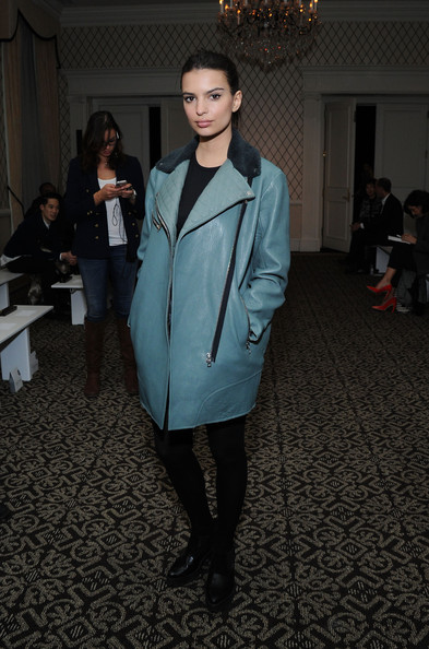 Emily Ratajkowski Leather Coat [mercedes-benz fashion,fashion,clothing,fashion show,fashion model,fashion design,runway,outerwear,coat,haute couture,formal wear,zana bayne,emily ratajkowski,front row,new york city,empire hotel,fashion show,mercedes-benz fashion fall]