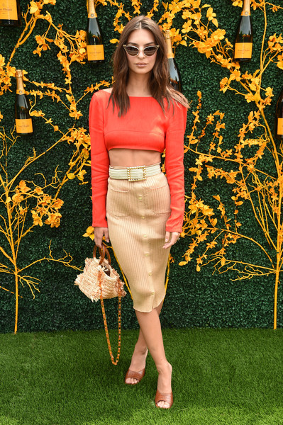Emily Ratajkowski Crop Top [clothing,pencil skirt,yellow,dress,fashion,orange,waist,fashion model,crop top,shoulder,arrivals,liberty state park,jersey city,new jersey,veuve clicquot polo classic,emily ratajkowski]