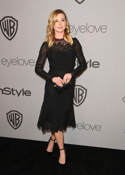 Emily VanCamp Leather Clutch [clothing,dress,little black dress,cocktail dress,shoulder,fashion,footwear,carpet,joint,leg,arrivals,emily vancamp,beverly hills,california,the beverly hilton hotel,warner bros. pictures,instyle host,post-golden globes party]