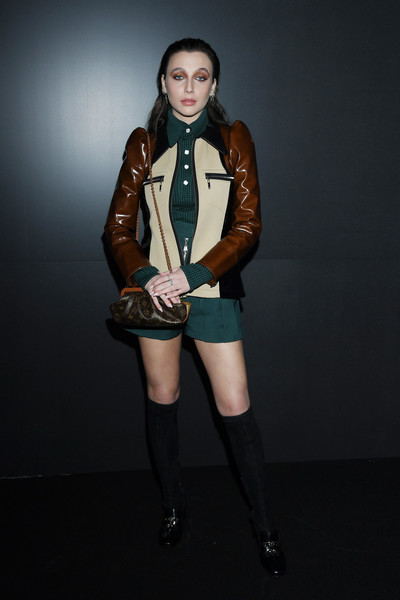 Emma Chamberlain Leather Jacket [clothing,fashion,beauty,fashion model,jacket,leg,thigh,outerwear,leather,footwear,emma chamberlain,front row,part,paris,france,louis vuitton,paris fashion week womenswear fall,supermodel,fashion,model,runway,jacket,socialite,shoe,beauty.m]