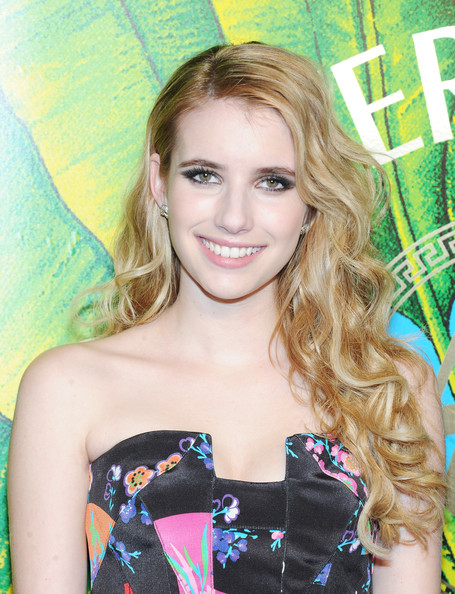 Emma Roberts Diamond Studs [hair,hairstyle,blond,beauty,long hair,brown hair,premiere,dress,smile,style,emma roberts,new york city,hudson,versace,h m,red carpet,fashion event]