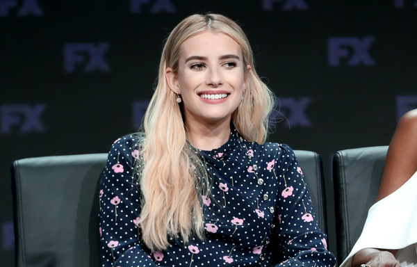 Emma Roberts Long Wavy Cut [american horror story: apocalypse,hair,blond,beauty,lip,hairstyle,fashion,long hair,performance,event,music artist,emma roberts,tca,the beverly hilton hotel,beverly hills,california,fx network,press tour,panel,portion]