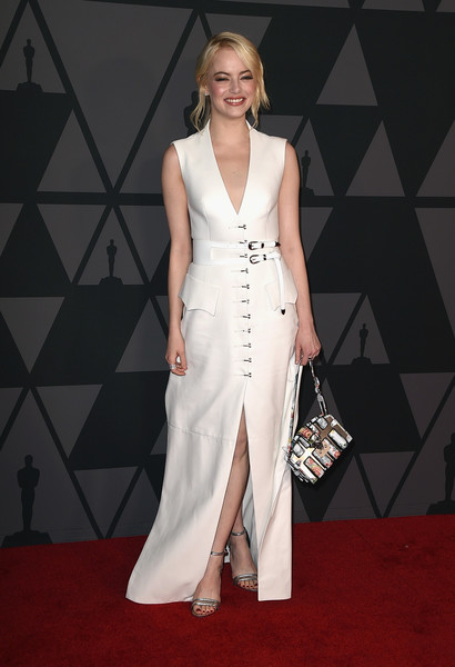 Emma Stone Leather Dress [fashion model,red carpet,clothing,dress,carpet,gown,flooring,fashion,hairstyle,premiere,emma stone,hollywood highland center,california,the ray dolby ballroom,academy of motion picture arts and sciences,9th annual governors awards]