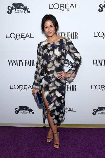 Emmanuelle Chriqui Embroidered Dress