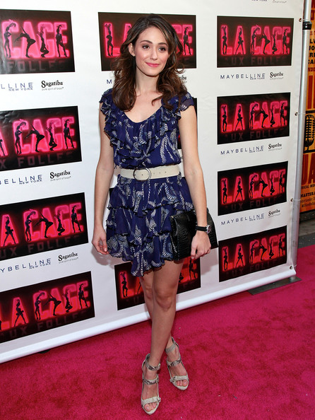 Emmy Rossum Strappy Sandals [la cage aux folles,clothing,premiere,dress,cocktail dress,red carpet,carpet,fashion,flooring,footwear,fashion model,broadway opening night - arrivals,emmy rossum,curtain call,new york city,broadway,longacre theatre,opening]