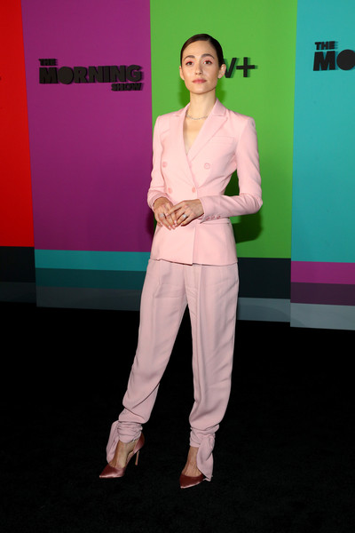 Emmy Rossum Pantsuit [the morning show,fashion,pink,carpet,red carpet,shoulder,flooring,pantsuit,event,performance,fashion design,tv,emmy rossum,new york city,david geffen hall,apple,world premiere]