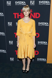 Rachel Antonoff chose this mustard yellow retro-style dress with a matching belt for her look at the premiere of 'This is the End.'