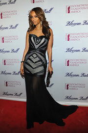 Tyra Banks wore this strapless dress with a sheer mermaid train to the Blossom Ball.