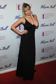 Genevieve Morton wore this black maxi-dress to the Blossom Ball.