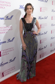 Bridget Moynahan opted for a retro-inspired look with this print dress with embellished bust.