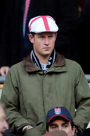 Prince Harry wore a patriotic cap for the England v France game.