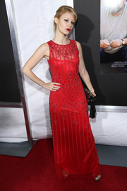 Tracey Fairaway's sleeveless red evening dress at the 'Enough Said' screening had an elegant 1920s feel to it.