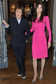 Nancy Shevell's bright pink cocktail dress at the Stella McCartney fashion show was a classy standout.