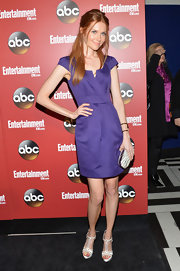 Darby Stanchfield opted for a bold purple frock for her look at the ABC Upfront party in NYC.