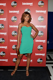 Toks Olagundoye chose a teal green strapless frock to show off her fit figure at the ABC Upfront event in NYC.