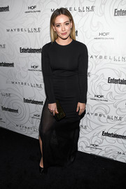 Hilary Duff went minimalist in a long-sleeve, sheer-bottom dress by Haney at the Entertainment Weekly SAG nominees celebration.