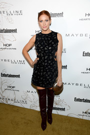 Brittany Snow amped up the retro vibe with a pair of brown thigh-high boots.