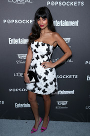 Jameela Jamil went for playful styling with a Lulu Guinness eye clutch.