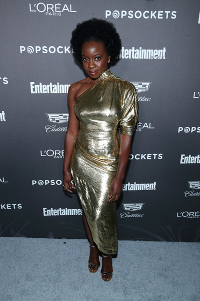 Danai Gurira kept the shine going with a pair of gold Louboutin sandals.