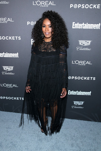 Angela Bassett was boho-chic in a fringed black dress by Mario Dice at the Entertainment Weekly SAG nominees party.