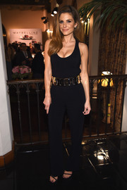 Maria Menounos showed off her assets in a low-cut black jumpsuit by A.L.C. at the Entertainment Weekly celebration honoring the SAG nominees.
