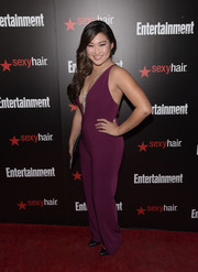 Jenna Ushkowitz took a daring turn in a deep-V plum jumpsuit by StyleStalker at the Entertainment Weekly SAG Awards nominee celebration.