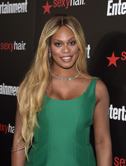 Laverne Cox wore her ultra-long hair down with a center part and subtly wavy ends during the Entertainment Weekly SAG Awards nominee celebration.