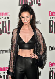Lydia Hearst rocked a black leather bra top by Alexander Wang at the Entertainment Weekly Comic-Con celebration.