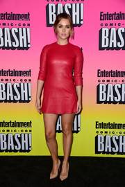 Camilla Luddington looked fierce in a red leather mini dress by ThePerfext at the Entertainment Weekly Comic-Con party.