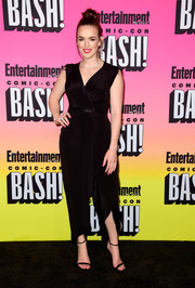 Elizabeth Henstridge went for easy elegance in a black wrap jumpsuit during the Entertainment Weekly Comic-Con party.