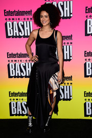Nathalie Emmanuel stepped up the rocker vibe with a pair of combat boots.