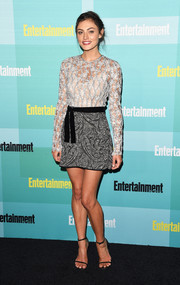 Phoebe Tonkin went for an eclectic finish with a gray paisley mini skirt, also by Ellery.