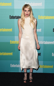 Emma Roberts was pure elegance at the Entertainment Weekly Comic-Con party in a white 3.1 Phillip Lim embroidered silk dress.