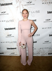 Erika Christensen looked sassy in a blush-colored one-sleeve jumpsuit during Entertainment Weekly's SAG Awards nominees celebration.