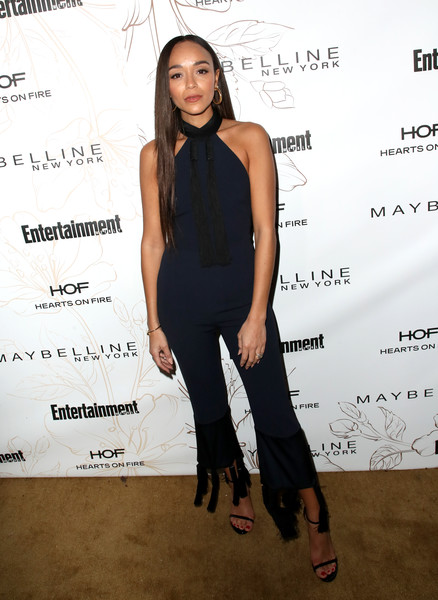Ashley Madekwe was casual yet stylish in a tasseled navy halter jumpsuit by Galvan during Entertainment Weekly's SAG Awards nominees celebration.