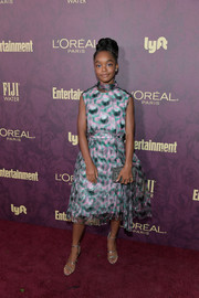 Marsai Martin paired her dress with strappy silver heels by Tamara Mellon.