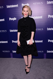Sarah Paulson kept it demure in a floral-embroidered LBD by Yanina Couture during the Entertainment Weekly and People celebration of the New York Upfronts.