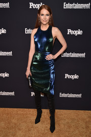 Darby Stanchfield stood out in an iridescent tank dress by Aquilano Rimondi at the Entertainment Weekly and People Upfronts.
