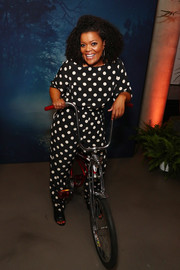 Yvette Nicole Brown was casual and cute in a polka-dot jumpsuit at the Entertainment Weekly and People Upfronts.