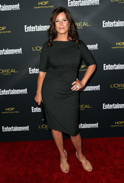 Marcia Gay Harden donned an understated yet chic charcoal sheath dress for the Entertainment Weekly pre-Emmy party.